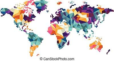 world region map globe vector art illustration
