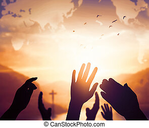 World Religion Day Concept: Human open two empty hands up...