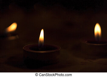 World Religion Day concept: Many burning candles with...