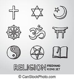 World religion hand drawn symbols set with - christian, Jewish, Islam, Buddhism, Hinduism, Taoism, Shinto, pentagram, and book as symbol of doctrine.