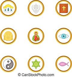 World religion icons set, cartoon style