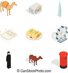 World religion icons set, isometric style