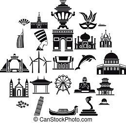 World religion icons set, simple style - World religion...