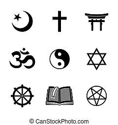 World religion symbols set with - christian, Jewish, Islam, Buddhism, Hinduism, Taoism, Shinto, pentagram, and book as symbol of doctrine.
