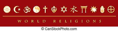 Gold icons of 12 world religions on red banner: Buddhist, Islam, Hindu, Tao, Christianity, Sikh, Judaism, Confucianism, Shinto, Baha%u2019i, Jain, Native Spirituality. EPS8 compatible.