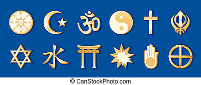 World Religions, Blue Background - World Religions, gold...