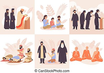 World Religions Composition Flat Icon Set