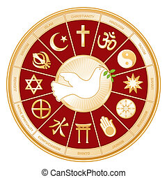 World Religions surrounding Dove of Peace: Islam, Christianity, Hinduism, Taoism, Baha'i, Buddhism, Jain, Shinto, Confucianism, Native Spirituality, Judaism, Sikh. Labels. Red background. EPS8 compatible.