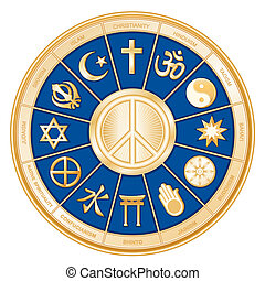 World Religions surrounding International Peace Symbol: Islam, Christianity, Hinduism, Taoism, Baha'i, Buddhism, Jain, Shinto, Confucianism, Native Spirituality, Judaism, Sikh. Labels. Blue background8 compatible.