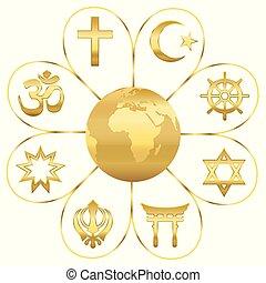 World Religions Planet Earth Golden Flower - World religions...