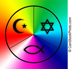 world religions - Symbols of Judaism, Islam and Christianity...