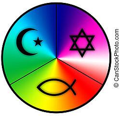 world religions - Symbols of Judaism, Islam and Christianity...