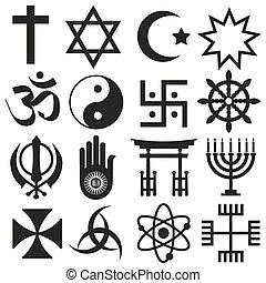 world religions symbols vector set of icons eps10