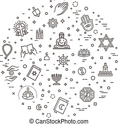world religions symbols vector set of icons in circle -...