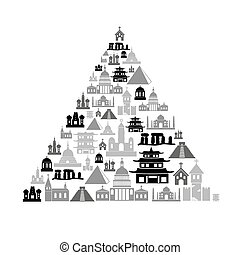 world religions types of temples icons in pyramid eps10