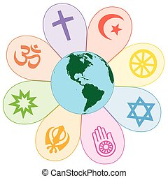World religions united on a colorful flower with planet earth in center. Isolated vector illustration on white background.