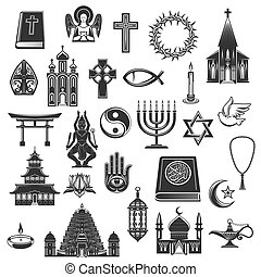 World religions vector symbols and signs