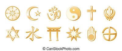 World Religions, White Background - World Religions, gold...