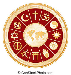World Religions surrounding earth map: Islam, Christianity, Hinduism, Taoism, Baha'i, Buddhism, Jain, Shinto, Confucianism, Native Spirituality, Judaism, Sikh. Labels. Red background8 compatible.