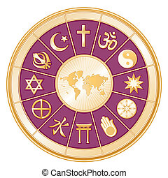 World Religions surrounding earth map: Islam, Christianity, Hinduism, Taoism, Baha'i, Buddhism, Jain, Shinto, Confucianism, Native Spirituality, Judaism, Sikh. Purple background. EPS8 compatible.