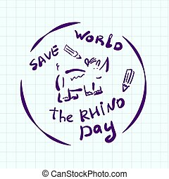 World Rhino Day doodle style sticker. Creative emblem hand drawn. Depicts a cartoon rhino in a circle. With an inscription. For creating logo, banner, web design, printing on clothes, decorating room