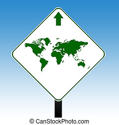 World road sign