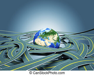 world roads - 3g world globe and roads