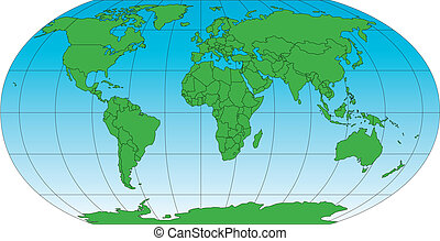 World Robinson Map Projection, Europe centered, editable, individual countries with outline borders, vector illustration, land shaded blue to lighter blue