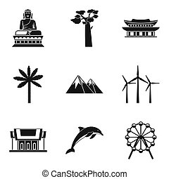 World route icons set, simple style