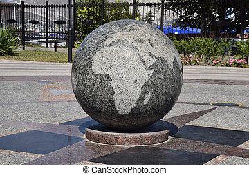 world., símbolo, paz, tigela, mapas, unidade, granito, gravado
