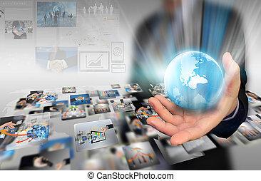 world., segurando, negócio, mão