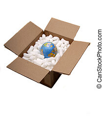 World Shipping - The World Globe In A Packing Crate Ready...