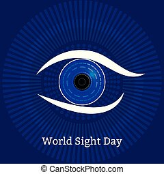 World Sight Day. Concept of a holiday of health. Symbolic image of the eye. Technological textures - computer diagnostics of diseases