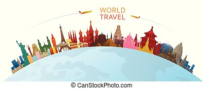 World Skyline Curve Landmarks Silhouette Colorful