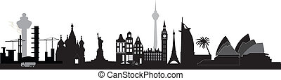 world skyline with architecture from around the globe