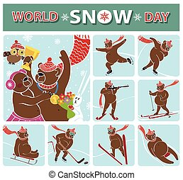 World snow day.Bear champion.Winter sports
