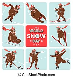 World snow day.Bear plays winter sport