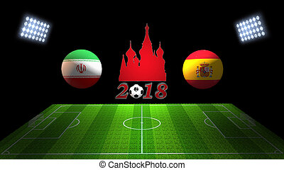 World Soccer Cup Match 2018 in Russia : Iran vs. Spain, in...