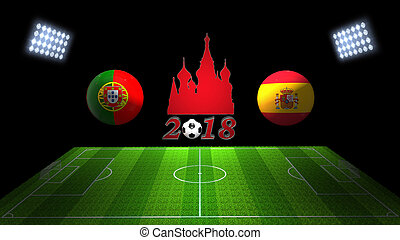 World Soccer Cup Match 2018 in Russia : Portugal vs. Spain,...