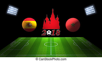 World Soccer Cup Match 2018 in Russia : Spain vs. Morocco,...