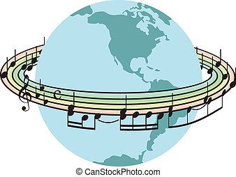 World song  - Stave around the planet earth