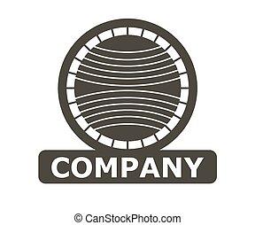 Grey Color Circle World Stamp Logo Design Illustration Template Vintage Style Shape Like Globe Map With Orbital Road