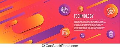 World statistics, Report checklist and Cogwheel icons set. ...