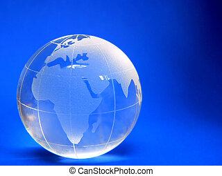 World - Glass Globe on Blue