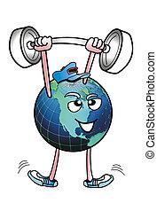 World man pumping iron.