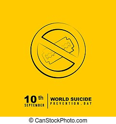 World Suicide Prevention Day design with stop using gillette...
