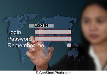 world System login - female hand push at login with world...