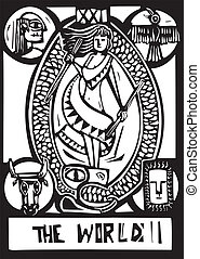 World Tarot Card - Woodcut expressionist style image of the ...