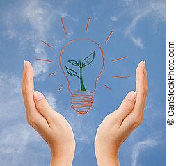 world:, terra, risparmiare, giorno, pensare