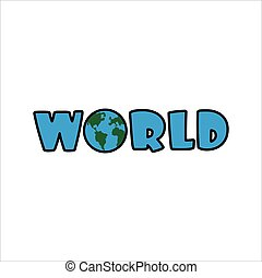 World text with Earth Planet